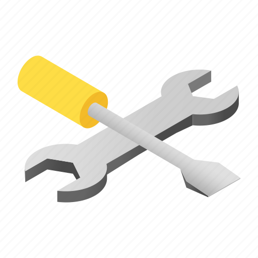 chrome, customized, isometric, screwdriver, steel, toolkit, wrench icon