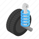 equipment, isometric, machine, object, part, shock, spiral icon