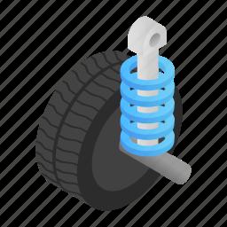 equipment, isometric, machine, object, part, shock, spiral icon