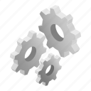 engine, equipment, gear, isometric, machine, mechanical, technology icon