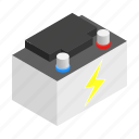 battery, car, electricity, energy, isometric, supply, volt