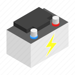 battery, car, electricity, energy, isometric, supply, volt icon