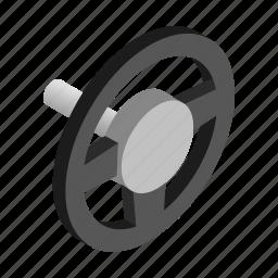 auto, car, control, isometric, leather, vehicle, wheel icon