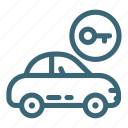 automobile, car, door, key, lock, transportation, vehicle icon