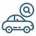 automobile, business, car, search, service, transportation, vehicle icon