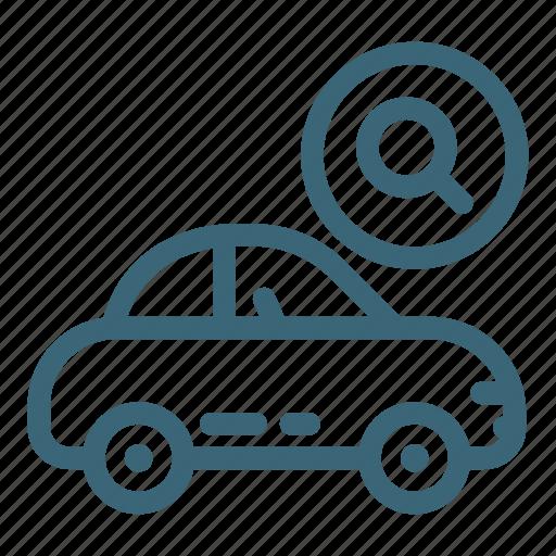 automobile, business, car, search, service, transportation, vehicle icon
