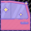 car door, side door, tinting, window, window tint, window tinting icon