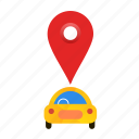 autonomous, busy, car, location, self-drive icon