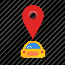 autonomous, busy, car, location, self-drive icon