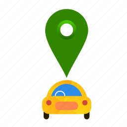 autonomous, car, location, online, self-drive icon