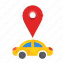 car, location, pin, autonomous, busy, map, self-drive icon