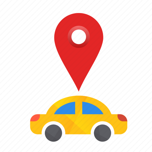Car, location, pin, autonomous, busy, map, self-drive icon - Download on Iconfinder