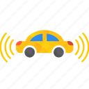 autonomous, both, car, self-drive, sensor, side icon