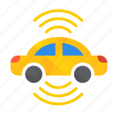 autonomous, both, car, self-drive, sensors, side icon