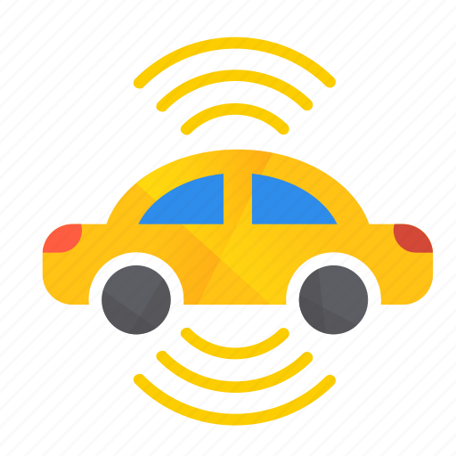 autonomous, both, car, self-drive, sensors, side icon