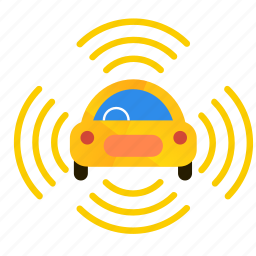 all, autonomous, car, self-drive, sensors, side icon