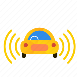 autonomous, both, car, self-drive, sensorss, side icon