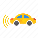 autonomous, car, left, self-drive, sensors, side icon