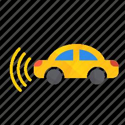 autonomous, car, left, self-drive, sensors, side icon