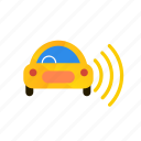 autonomous, car, right, self-drive, sensors, side icon