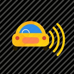 autonomous, car, right, self-drive, sensors, side icon