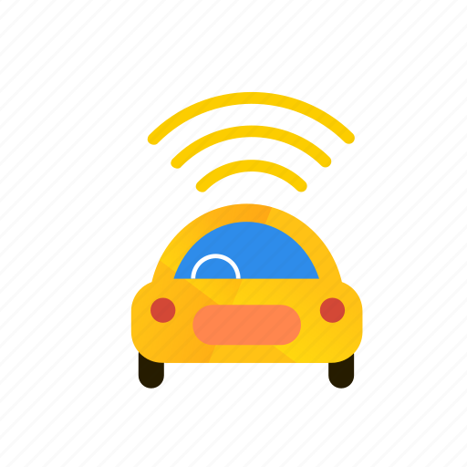 autonomous, car, self-drive, sensors, side, top icon