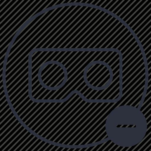 cardboard, negative, remove, vr icon