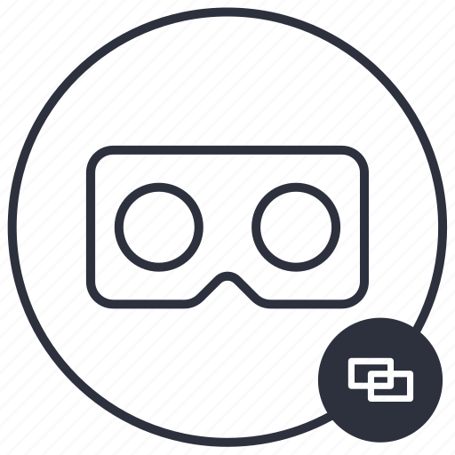 cardboard, connect, connected, link, vr icon