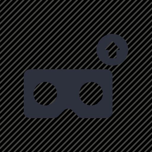 arrow, cardboard, upload, vr icon