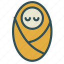 baby, burrito, cloth, family, sleep, wraped icon
