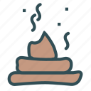 defaction, excrements, poop, waste icon