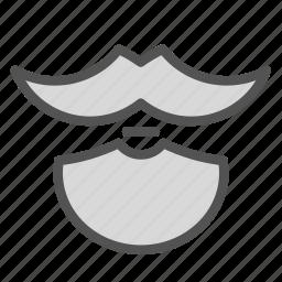 beard, hairstyle, man, moustache, round icon