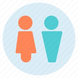 bathroom, circle, man, shape, sign, woman icon