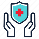 hand, heal, protection, save, secure, shield, suppport icon
