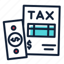 data, document, money, refund, tax icon