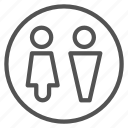 bathroom, circle, man, shape, sign, woman icon