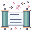 kalf, doorpost, parchment, mezuzah, scroll message icon