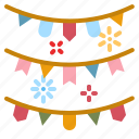 garland, ornament, celebration, fun, flags