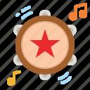 tambourine, musical, instrument, jingle, music icon