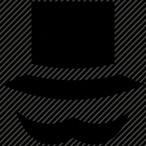 hat, mustache, mustache and hat, mustache with hat icon