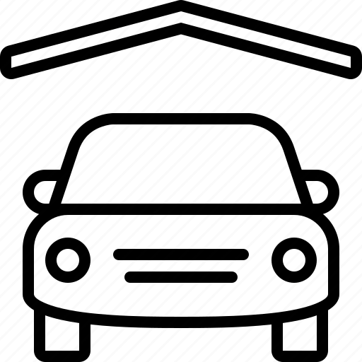 car, garage, parking, parking lot, parking space, roof, vehicle icon