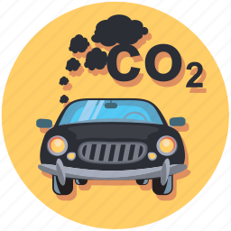 car, circle, pollution, smoke, vehicle icon