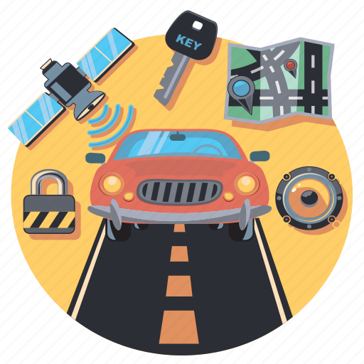 accesories, car, lock, navigation, road, travel, vehicle icon