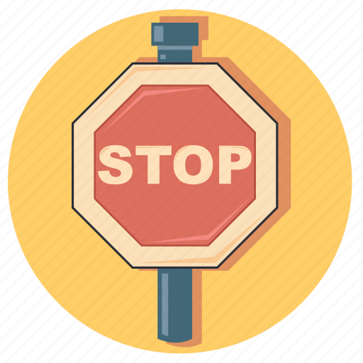 road, sign, stop, traffic, warning icon