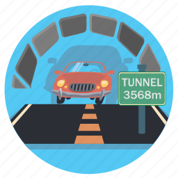car, road, sign, tunnel icon