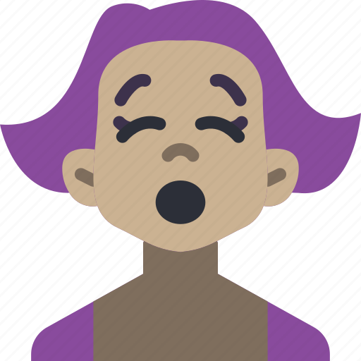 avatars, cartoon, emoji, emoticons, girl, tired icon
