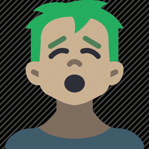 avatars, boy, cartoon, emoji, emoticons, tired icon