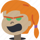 angry, avatars, cartoon, emoji, emoticons, girl