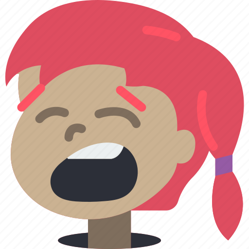 avatars, cartoon, emoji, emoticons, girl, yawn icon