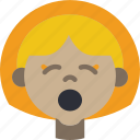 avatars, cartoon, emoji, emoticons, girl, tired icon